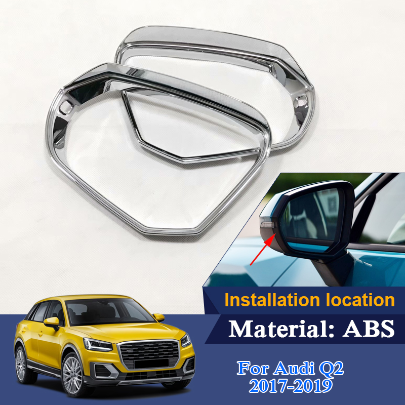 2pcs Car Styling ABS Rear Mirrors decorative frame Exterior Chrome Trim Cover Sequins For Audi Q2