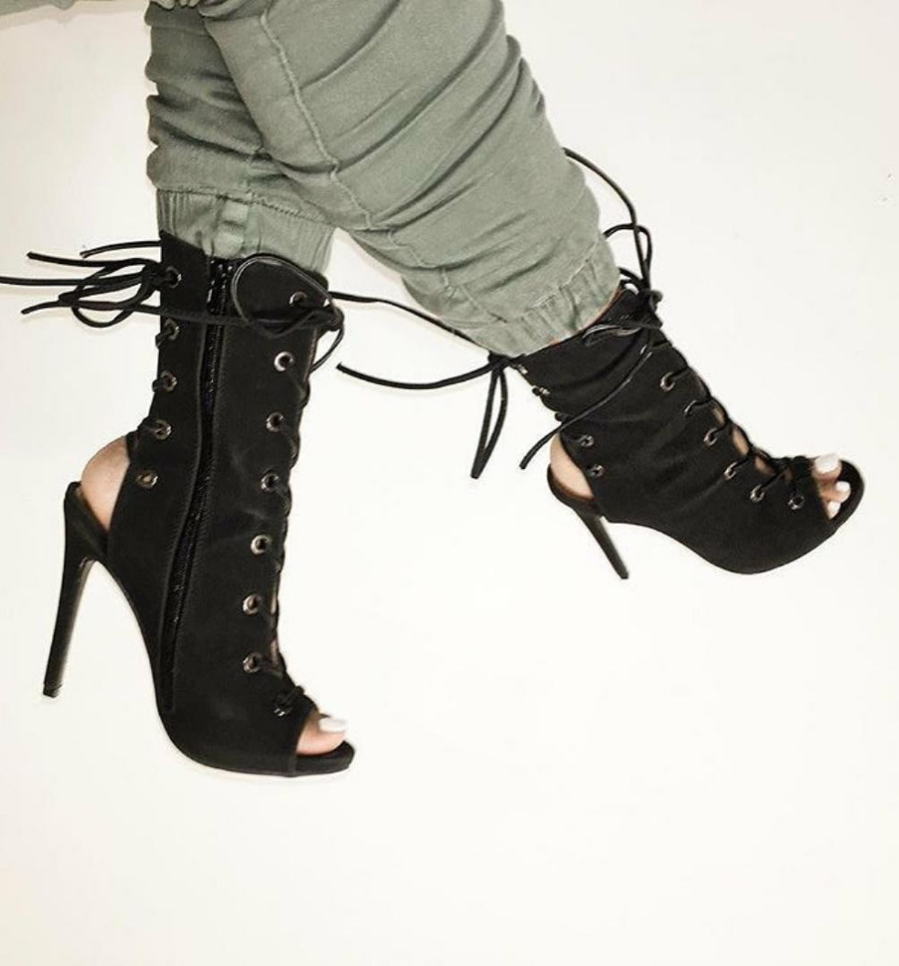 young ladies loved black suede exposted heel open toe short boots double lace up ring buckle cut-outs sandal booties 2018 newest design brand new multi color lace up open toe high heel sandals cut outs ring buckle sandal booties wholesale price