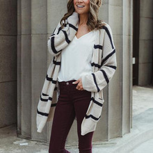 Casual Striped V Neck Long Cardigan Coat Women 2018 Autumn Winter Sweaters and Cardigans Oversized Knitted Jacket