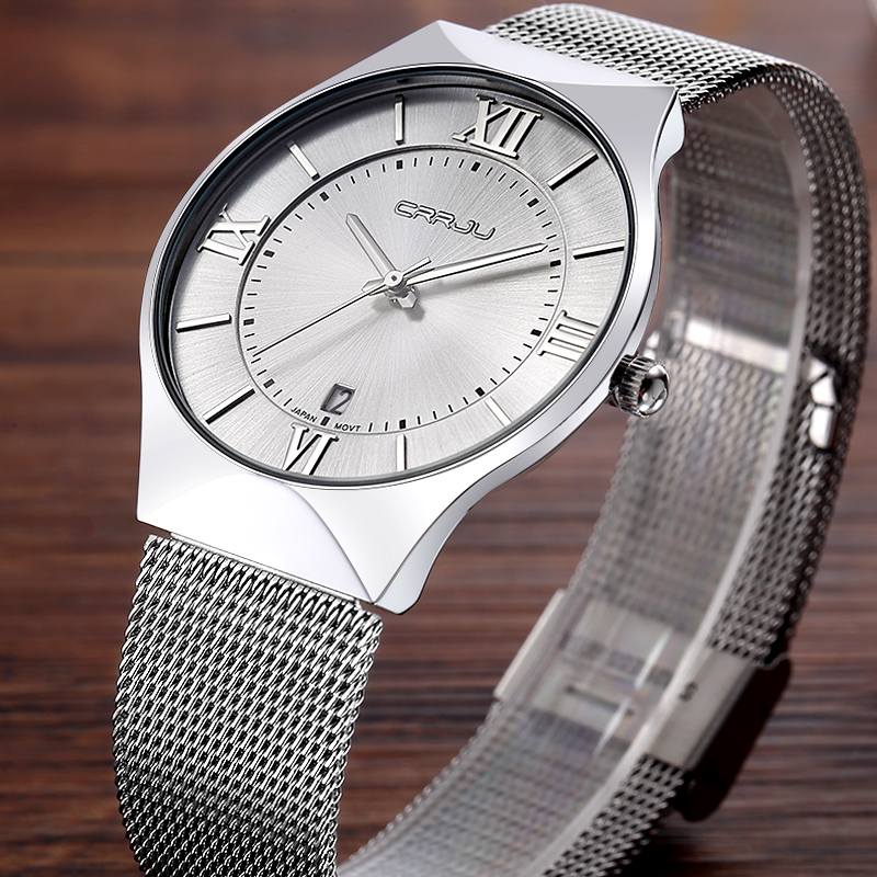 Top Luxury Brand CRRJU Silver Women Watches Stainless Steel Mesh Strap Ultra Thin Dial Quartz Hour