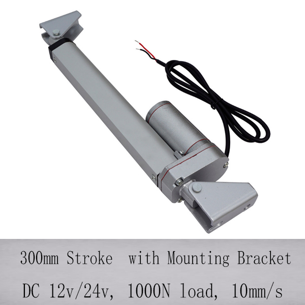 Hot Sales 300mm stroke linear actuator with mounting bracket 1000N 100KGS load 10mm s speed 12