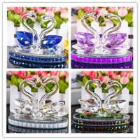 Crystal swan crafts ornaments, creative love gifts, home desktop decorations, fine crystal crafts