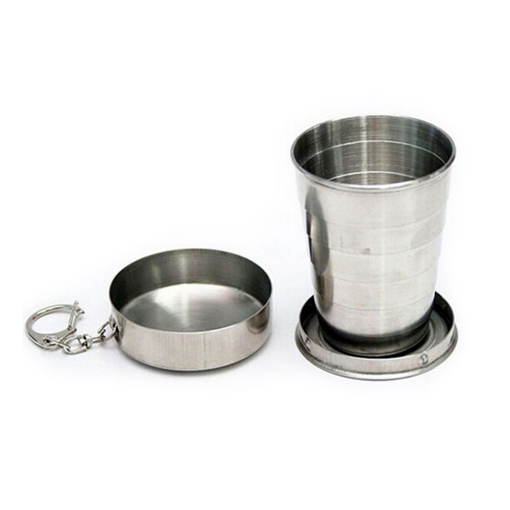 75ML Stainless Steel Folding Cup Travel Tool Kit Survival EDC Gear Outdoor Sports Mug Portable for Camping Hiking Lighter