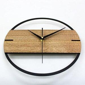 Image 4 - Gorący zegar ścienny Vintage prosty nowoczesny Design drewniane zegary do sypialni naklejki 3D ściana z drewna zegar dekoracyjny do domu cichy 12 cali
