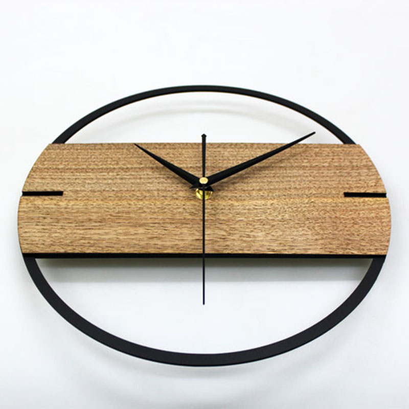 Image 4 - Hot Vintage Wall Clock Simple Modern Design Wooden Clocks For Bedroom 3D Stickers Wood Wall Watch Home Decor Silent 12 In-in Wall Clocks from Home & Garden