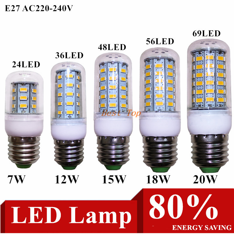 10pcs Led bulb E27 E14 5730SMD AC 220V 24 36 48 56 69LEDs Led Corn lamp Christmas Chandelier Candle Lighting free shipping