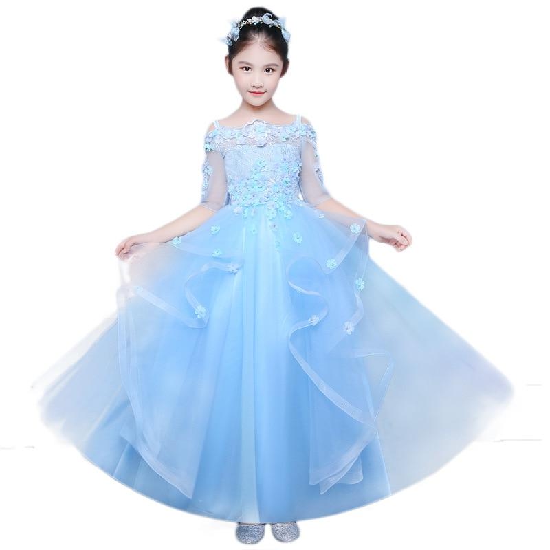 Princess dress catwalk evening dress children clothes long flower girl host piano costume pettiskirt girls clothes hot sale A84 asrock fm2a68m dg3