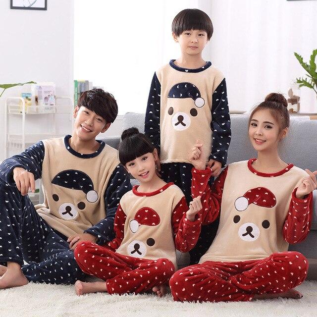 family matching christmas pajamas winter clothes coats mother and daughter son pyjamas clothes fleece couples matching