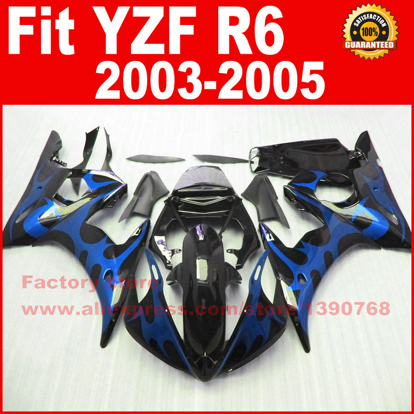 New motorcycle fairings set for 2003 2004 2005 YAMAHA YZFR6 03 04 05 YZF R6 46 blue flame in black fairing kits bodywork parts road race motorcycle fairings kit for yamaha r6 2003 2004 2005 yzf r6 03 04 05 black silver fairing kits bodywork part