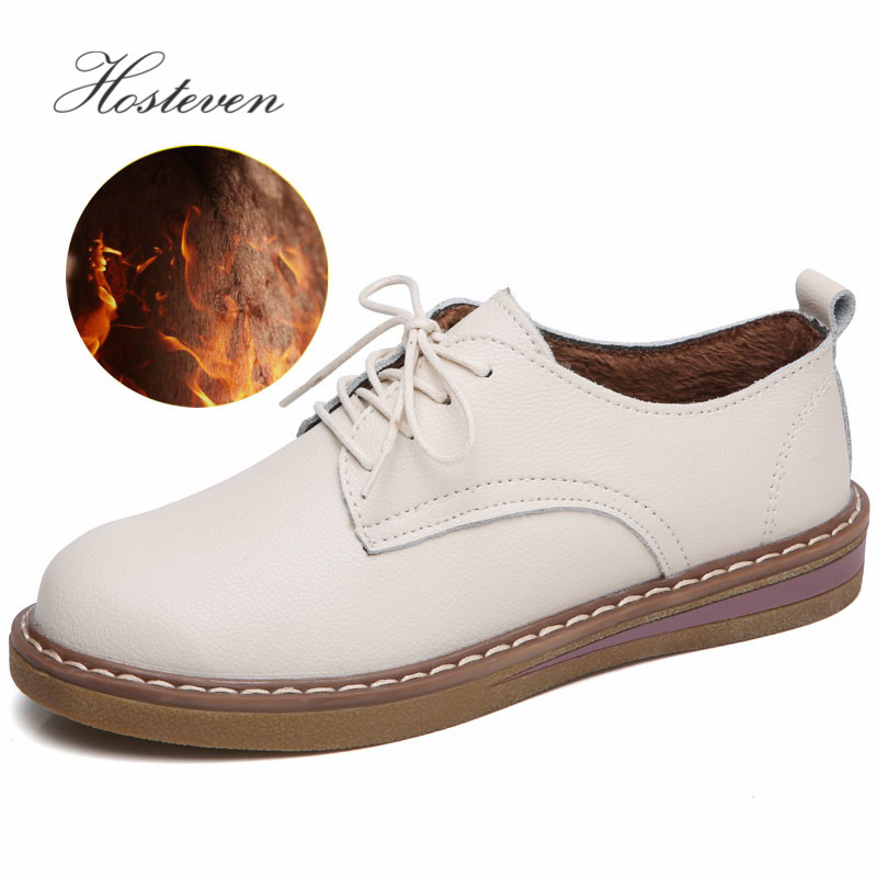 Hosteven Women Shoes Oxford Casual Flats Sneakers Moccasins Genuine Leather Plush Mother Girls Fashion Warm Winter Shoes