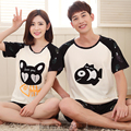 2017 Summer 100% Cotton Couple Pajamas Sets of Sleepcoat & Shorts Lover Sleepwear Family Casual Home Clothing Plus size 3XL
