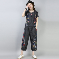2018 Summer Ancient Chinese Women Clothing Large Code Embroidery Loose Art Set For Women Cotton And Linen Blue Grey
