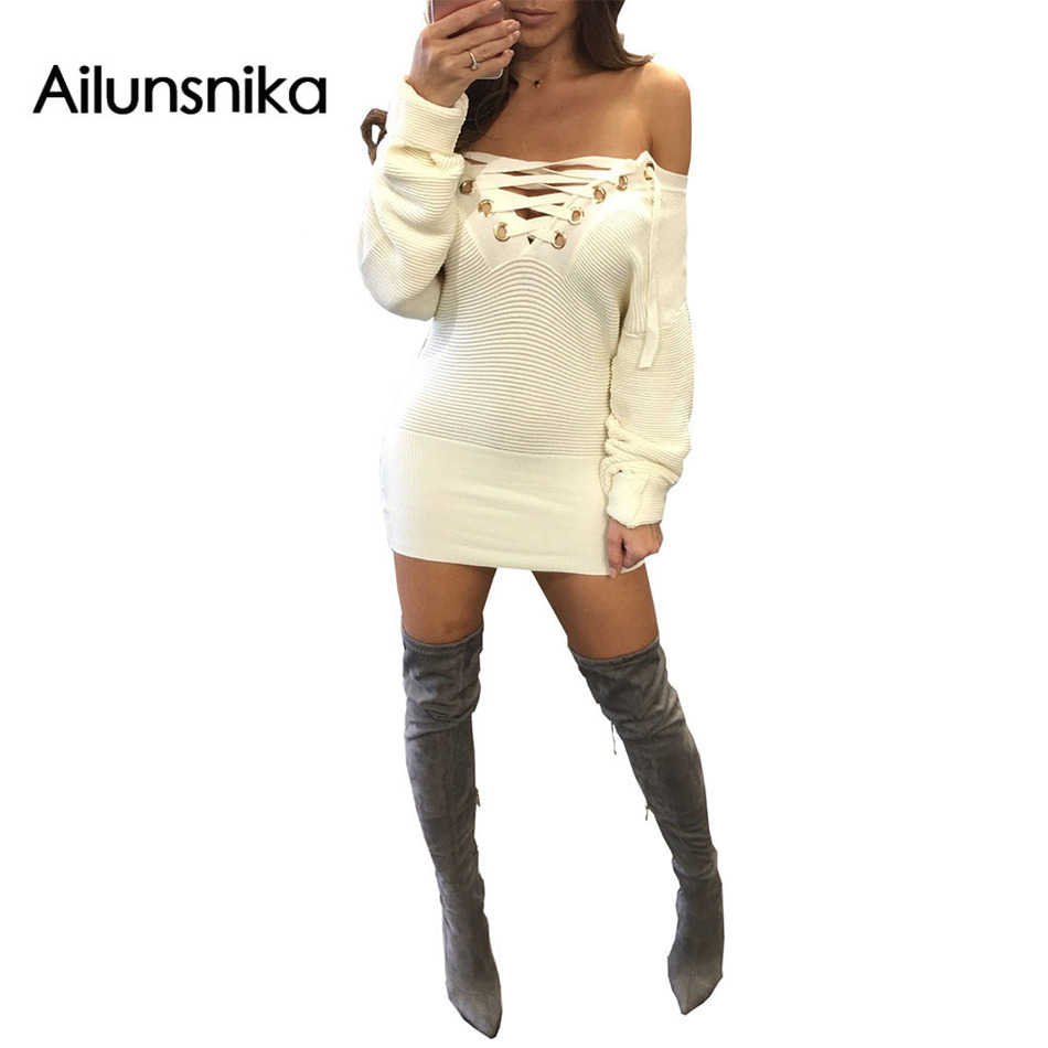 Ailunsnika 2018 Spring Women Sexy Fashion Off Shoulder Ties Up Slash Neck Elegant Club Sweater Mini Dress MN8037