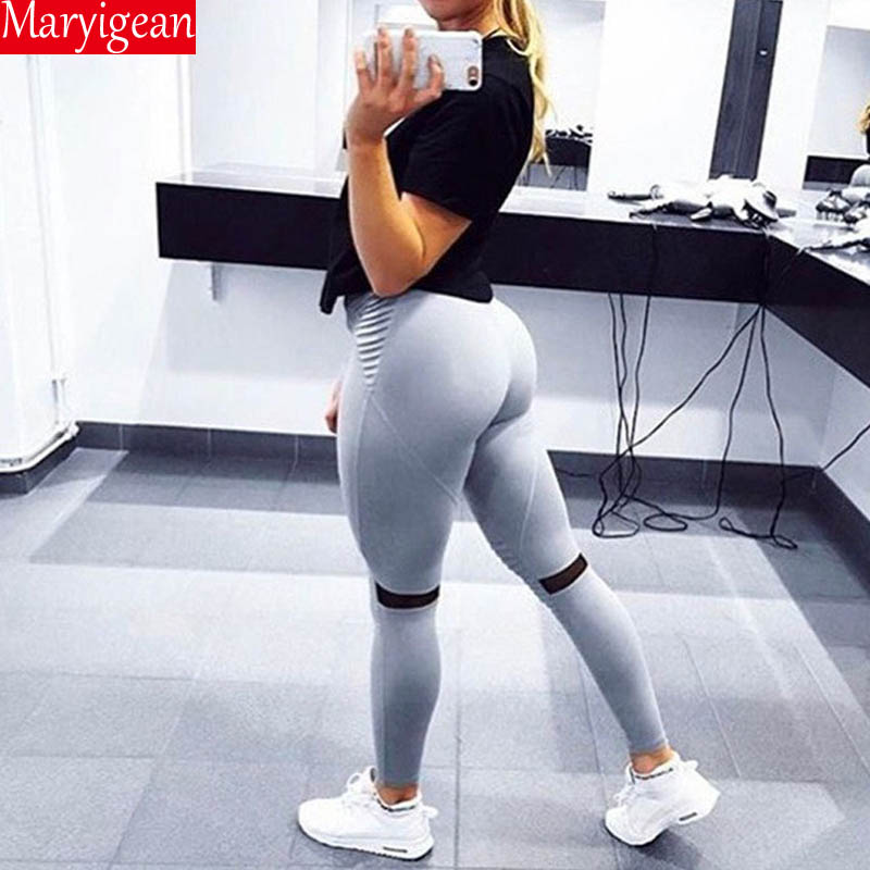 Maryigean Sexy Push Up Fitness Leggings Women Pants High Waist Sporting Leggins Workout Candy Color Leggings Pockets S-Xl
