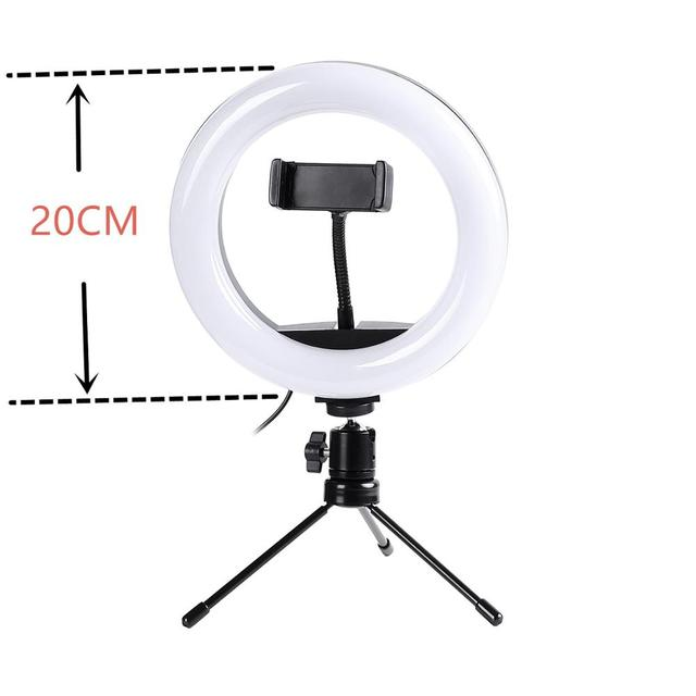 Anillo de luz LED de Escritorio Mini fotografía Regulable Maquillaje Lámpara de Vídeo Soporte Trípode