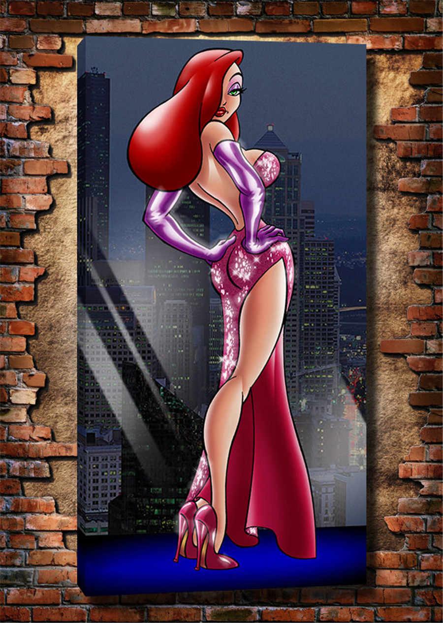 Фото Для взрослых Герой мультфильма сексуальная Джессика Рэббит печать на холсте