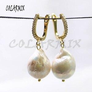 Image 3 - 5 pares grandes pendientes de perlas naturales gancho retro joyería piedra pendientes mujeres regalo para su venta al por mayor joyería 8006