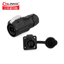 Cnlinko M16 10A 2pin cable circular din connector male female waterproof IP65 blind mate power audio connectors