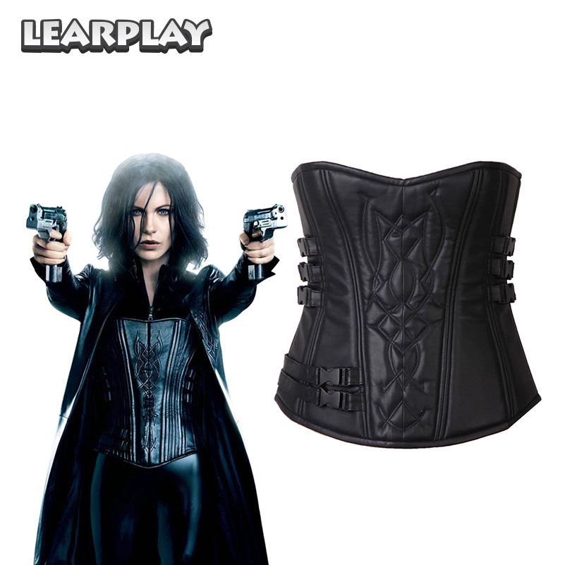 Underworld 4 Awakening Selene Corset Cosplay Costume Black Pu leather Tube tops Tunic Halloween Costumes for Woman