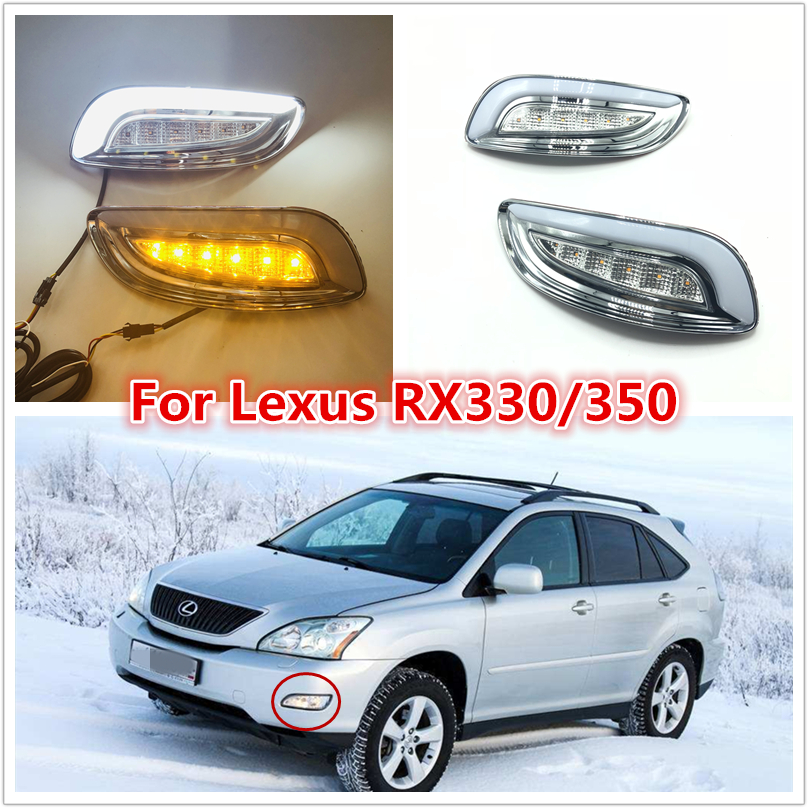 One Sets LED DRL Fog Lamp For Lexus RX330 RX350 2003 2004 2005 2006 2007 2008 2009 Daylight Headlight With Signal Waterproof