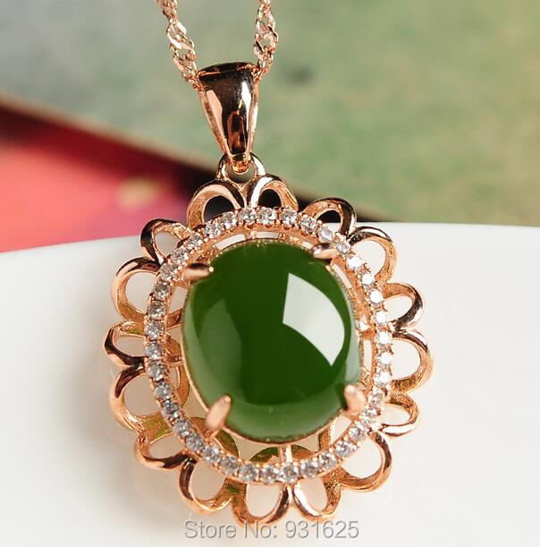 925 silver Gold Natural Green HeTian Jade Gem Stone Inlay Flower Design Lucky Pendant Necklace + certificate Fine Jewelry