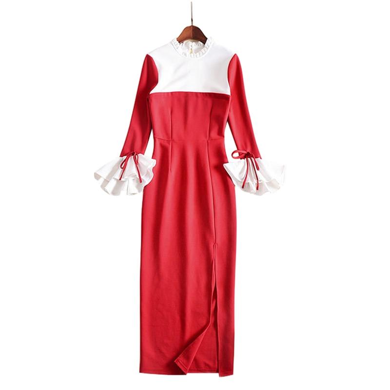 Rouge Longues Robes Automne Rouge Coton Maxi Volants Robe Color Flare Haute Block Col Fente Vêtements Cheville Manches Longueur Femmes noir rxOqH76r