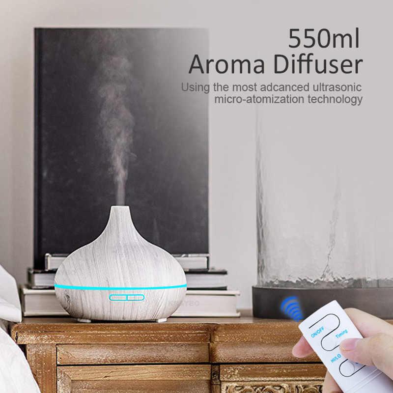 Kbaybo umidificador de ar elétrico, ultrassônico, difusor de aroma, grão de madeira, controle remoto, com 7 cores, luz led