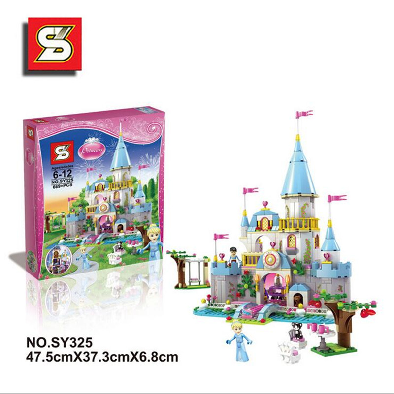 New SY325 Building Block Cinderella Romantic Castle Princess Friend Blocks Bricks Girl Sets Toy Compatible With lepin lepin 16008 4160pcs cinderella princess castle city model building block kid educational toys for gift compatible legoed 71040