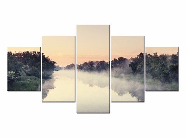 Framed 5 Panels Lake scenery Canvas Print Painting Modern Canvas ...