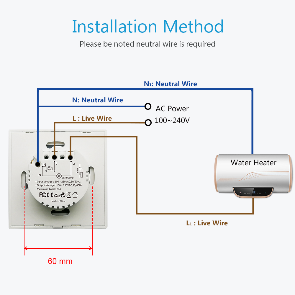 Image 5 - Tuya WiFi Touch Switch for Boiler Water Heater 20A  EU Panel  App Timer ON OFF Voice Control Google Home Amazon Alexa IFTTT-in Switches from Lights & Lighting
