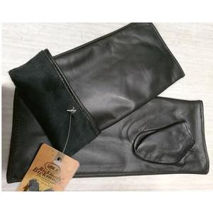 Image 5 - Leather sheepskin half finger gloves long ladies mitts velvet lining spring and autumn driving gloves 22 cm length