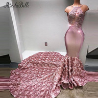 modabelle African Prom Dresses Long 2018 Mermaid Applique With Beads 3D Flowers Floral Evening Dress For Women Sexy Night Gown