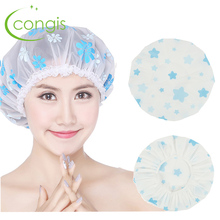 Congis 2 PC Dot Flower Waterproof Shower Cap Resuable Lace Elastic Band Thicken Bath
