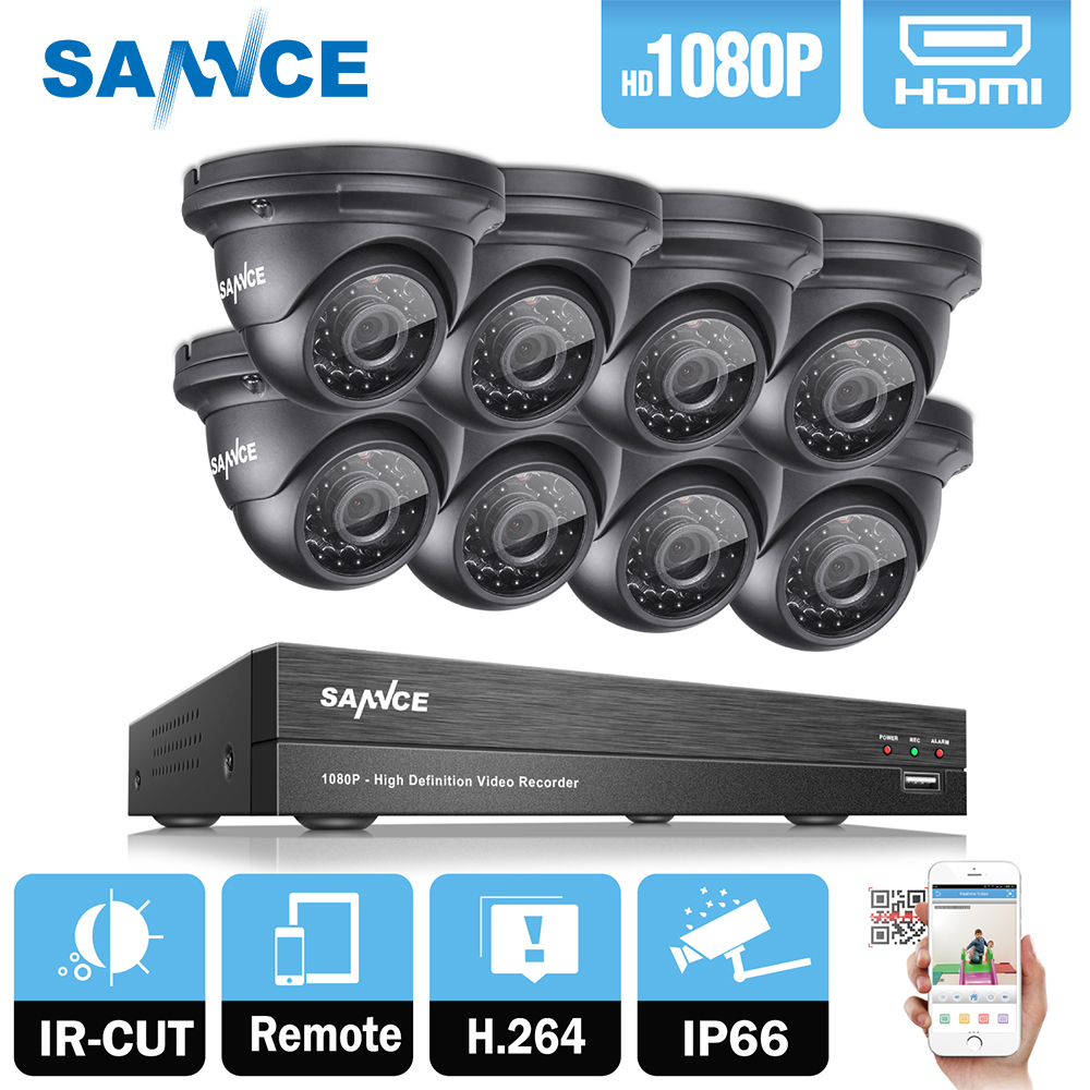 SANNCE 8CH 1080P 2MP CCTV DVR Recorder 4PCS 1080P HD 1920 1080 In Outdoor Security Dome