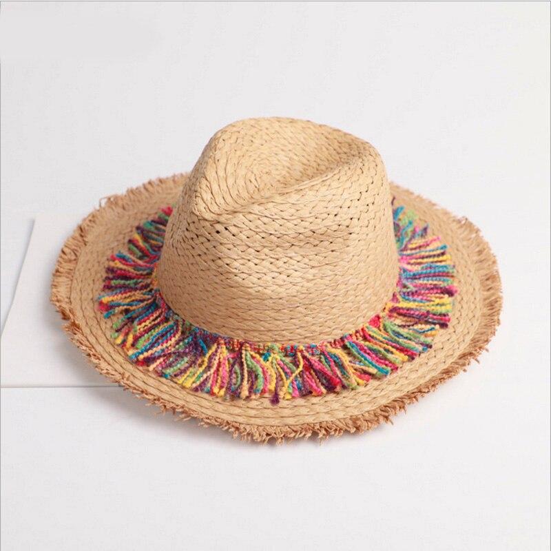 2018 New Summer Rafi straw hat Women Fashion Tassels Holiday Beach Sun hat Ladies Girls Jazz hat New Chapeau Femme