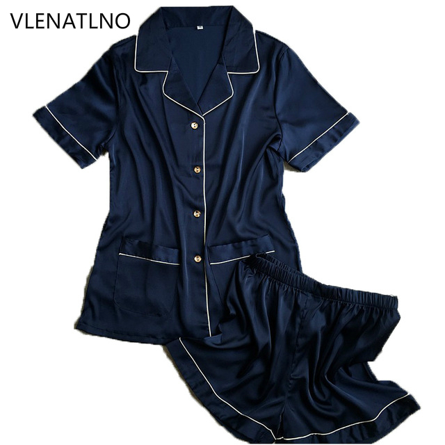 short pants + short sleeve tops   pajamas     sets   silk satin nightwear pink blue white color pyjamas women summer sleepwear 2pcs/  set