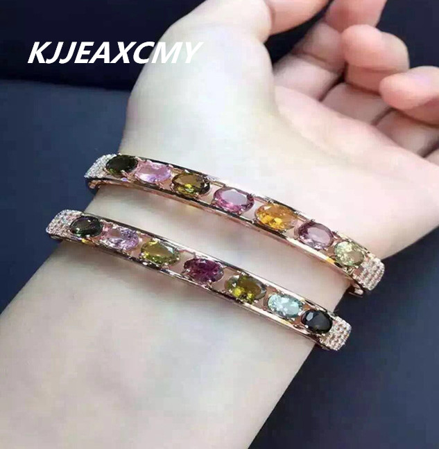 KJJEAXCMY Fine jewelry 925 Sterling Silver with natural stone color tourmaline Bracelet Bangle Bracelet purity silver jewelryKJJEAXCMY Fine jewelry 925 Sterling Silver with natural stone color tourmaline Bracelet Bangle Bracelet purity silver jewelry
