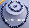 Envío gratis venta caliente de La Manera joyería nupcial joyería Set 8-9mm Negro de Agua Dulce Collar de Perlas Pulsera Pendiente de la joyería conjunto