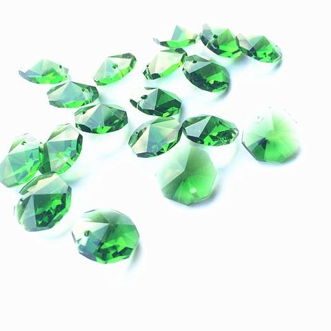 100 pcs lote 14mm cristal octogono contas de vidro 1 buracos pecas prisma lustre contas