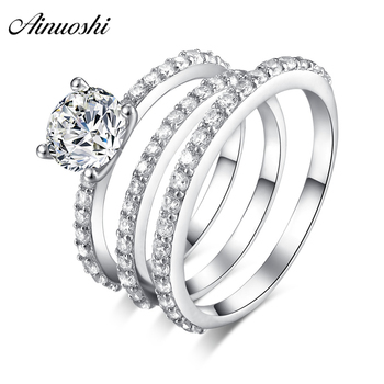 AINUOSHI 925 Sterling Silver Couple Wedding Engagement 4 Prongs Rings Set Round Cut Men Anniversary Lovely Promise Ring Set Gift
