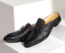 QYFCIOUFU 2019 Summer New Loafer crocodile shoes Slip-On Men's dress shoes Genuine Leather Casual Footwear Wedding formal shoes