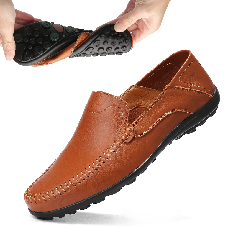 Summer Men Casual Shoes Luxury Brand 2019 Genuine Leather Loafers Men Moccasins Breathable Slip On Driving Shoes Plus Size 37-47