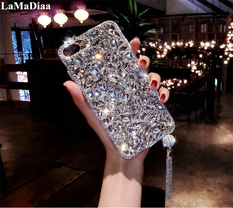 LaMaDiaa Luxury Bling 3D Jewelled Diamond Soft Back Pendant <font><b>Phone</b></font> <font><b>Case</b></font> Cover For SamsungS6 <font><b>S7</b></font> S8 S9 S10 S11Plus Note8 9 10 Shell image