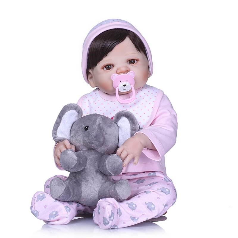 56CM Reborn Doll Full Body Silicone 3D Lifelike Jointed Newborn Doll Playmate Gift AN88 56cm baby reborn doll full body silicone 3d lifelike jointed newborn doll playmate gift bm88