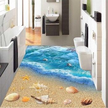 beibehang Dolphin Ocean Custom 3D Wallpaper for Bathroom Mural-3d flooring Wallpaper Self-adhesive Floor painting wall stickers 3d floor painting wallpaper shark 3d floor waterproof wallpaper for bathroom wall 3d flooring page 1