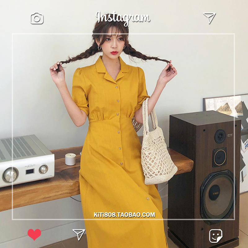 Retro Lady Style a Line Long Dress Puff Sleeve Slim Waist Long Dress Summer Elegant Robe Longue Vestido Largo Vestiti Lunga 3