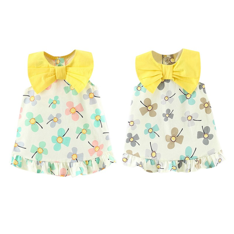 1-3T Hot Sale Baby Girls Cute Summer Dress Infant Kids Printed Sleeveless Dresses Newborn Children Newly Clothing