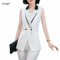 Fashion women stripe vest pant suits summer New formal business uniforms office ladies plus size sleeveless vest and pants
