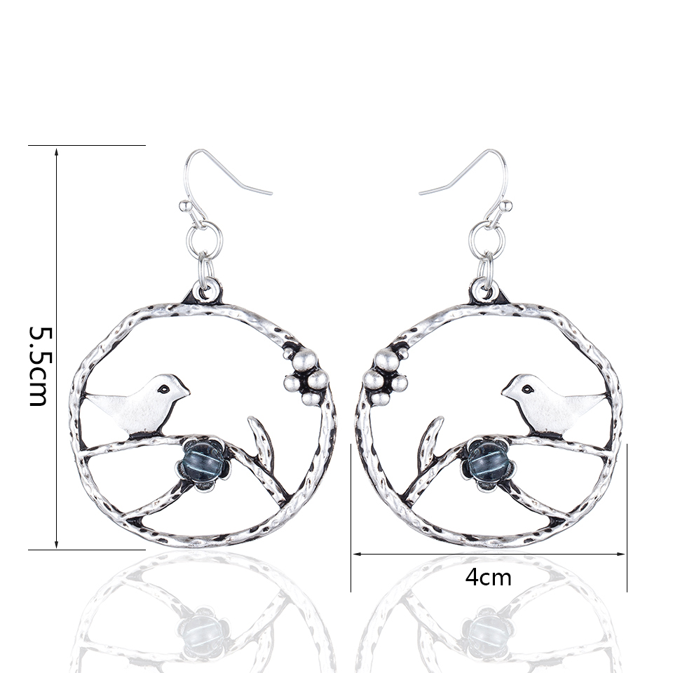 HTB1BsYBnsLJ8KJjy0Fnq6AFDpXaF - Vintage Jewelry Earrings for Women Bird Silver Color Dangle pendientes brincos long earring Alloy jewellery