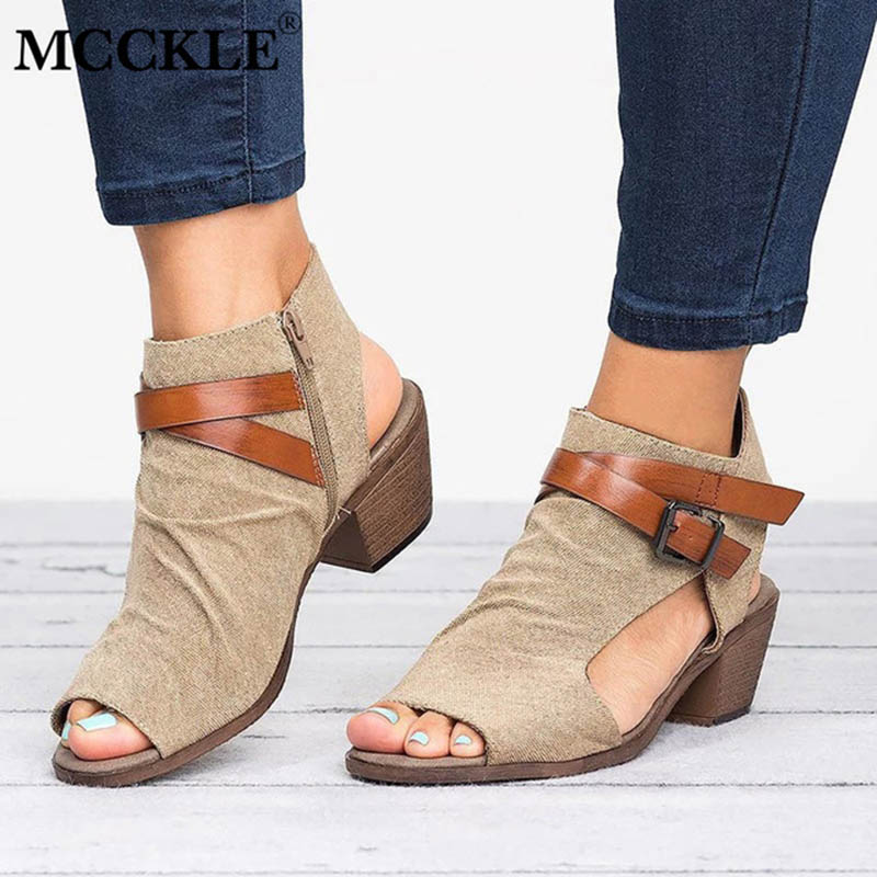 63c7f2e9515a MCCKLE Women Summer Gladiator Flat Platform Wedge Heels Sandals Female Clogs  Hook Loop Peep Toe Party Shoes ...